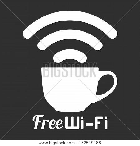 Internet cafe free wifi coffee cup sign. Wireless Network icon. White and black flat button with wi-fi symbol. Modern UI element. Vector illustration.