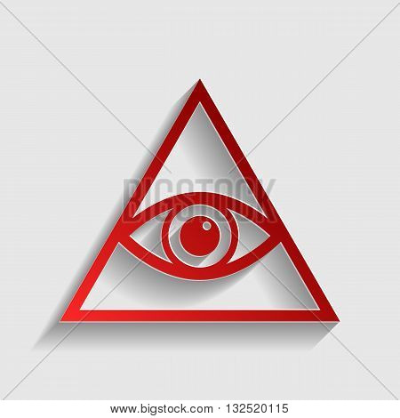 All seeing eye pyramid symbol. Freemason and spiritual. Red paper style icon with shadow on gray.