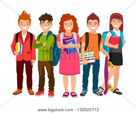 Funny group of schoolchildren with backpacks and textbooks. Three boys and two girls. Cute characters. The concept of school education. Back to school. Vector illustrations isolated on white background.