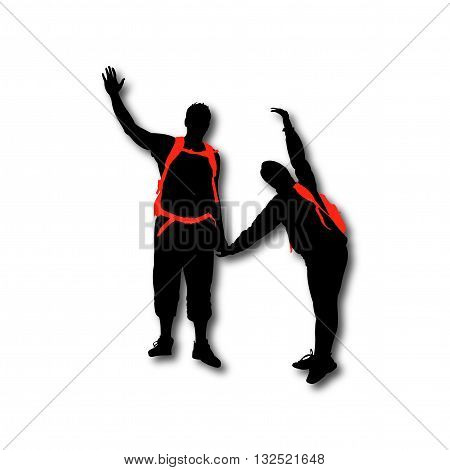 Hikers couple with backpacks black silhouettes waveing