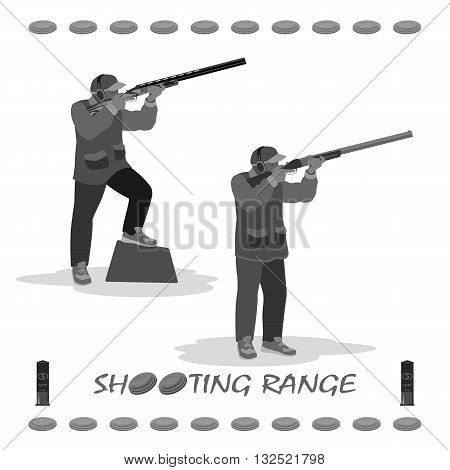 man shoots at a flying pigeon with a rifle. on his feet running shoes, a cap on his head. rifle, clay plates