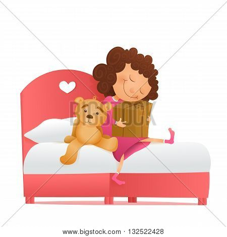 Young girl with a gift waiting for miracle. Birthday morning. Vector illustration