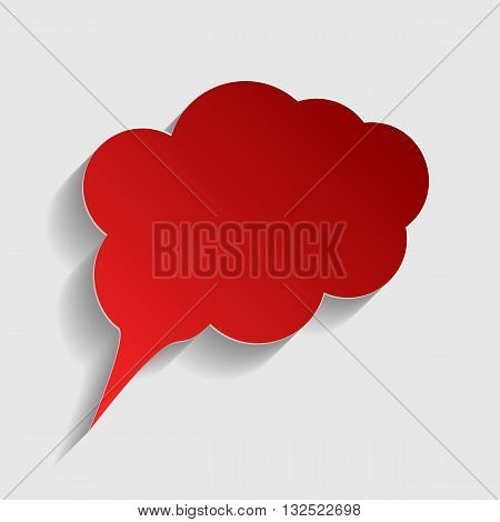Speach bubble sign illustration. Red paper style icon with shadow on gray.