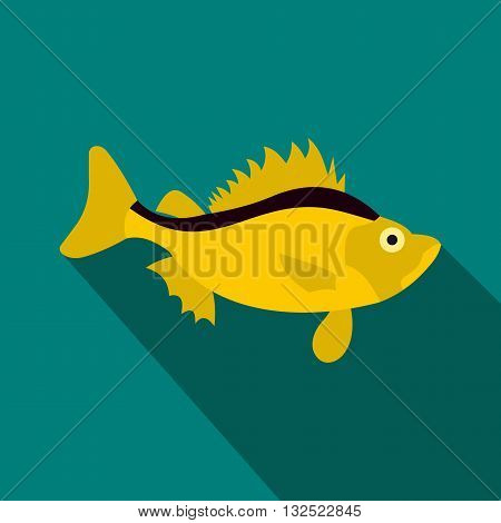 Ruff fish icon in flat style with long shadow. Sea and ocean symbol