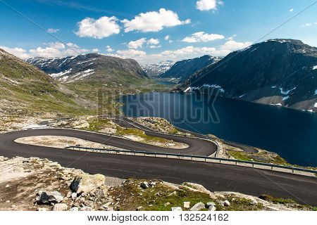 Norwegian serpentine road. The road is so narrow that disperse colliding buses almost impossible
