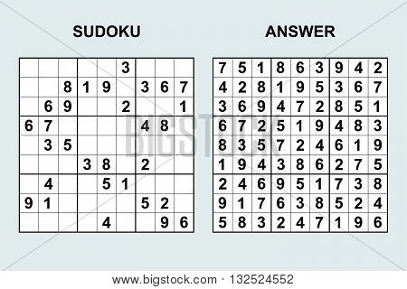 Vector Sudoku with answer. Puzzle game with numbers. poster