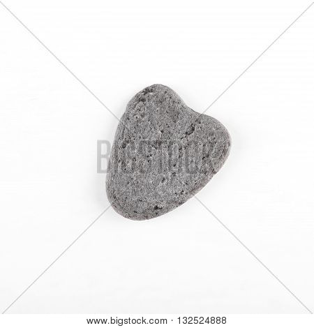 Top View On Grey Stone With Heart Shape On White Board