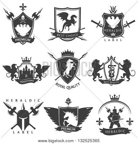 Heraldic black white labels with knight sword crown lance unicorn flower double eagle lion isolated vector illustration