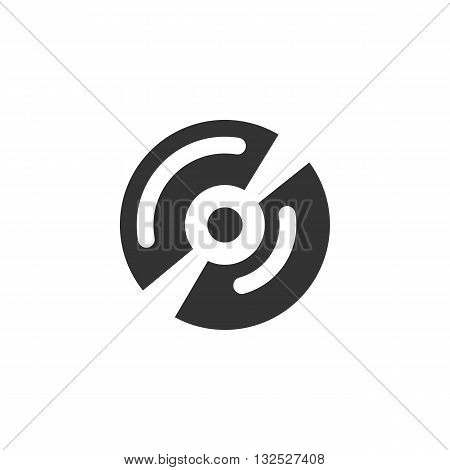 Disk icon on white background. Disk logo element for template. Modern vector pictogram for web graphics. Flat design style. Vector illustration. - stock vector