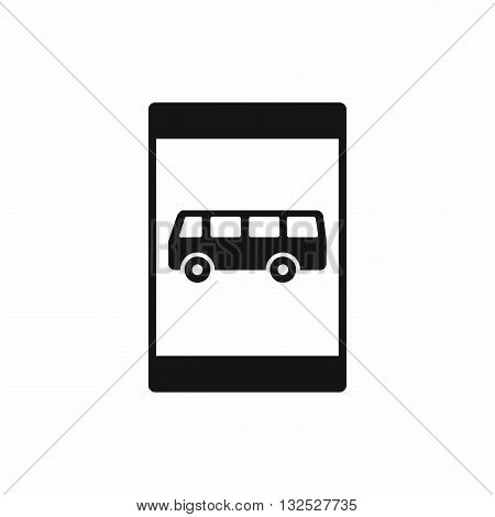 Bus stop sign icon in simple style isolated on white background
