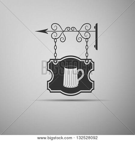 Black vintage street forged signboards with symbols of tavern, pub. Vector Illustration