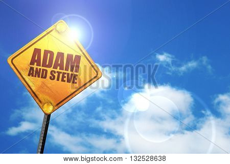 adam and steve, 3D rendering, glowing yellow traffic sign