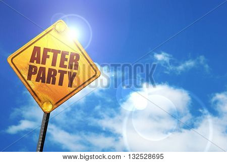afterparty, 3D rendering, glowing yellow traffic sign