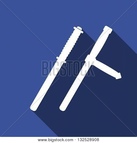 Police baton or police nightstick icon with long shadow. Vector Illustration