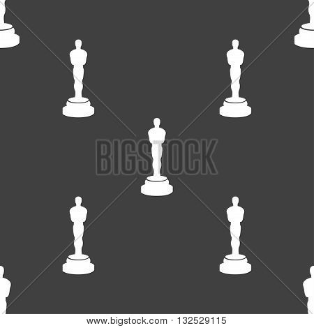 Oscar Statuette Icon Sign. Seamless Pattern On A Gray Background. Vector
