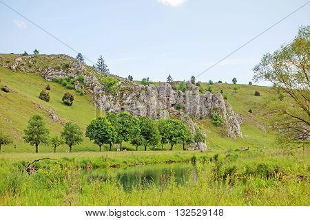 Valley Eselsburger Tal near river Brenz - jewel of the swabian alps (Schwaebische Alb) green meadow / grassland in front