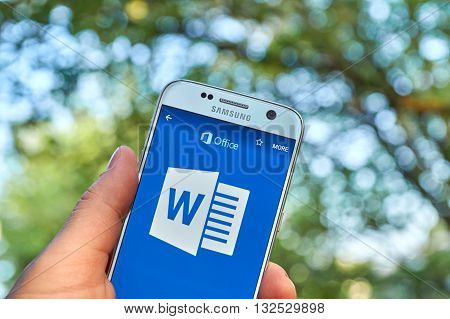 MONTREAL CANADA - MAY 23 2016 - Microsoft Office 365 Word application on Samsung S7.