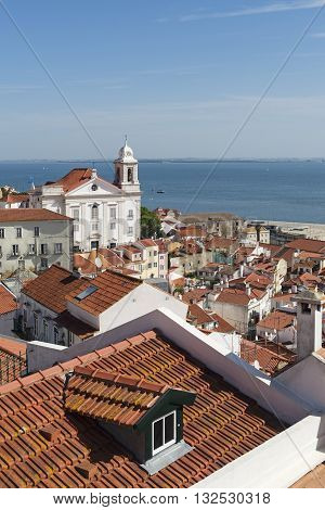 View of Alfama with the tagus river as background in Lisbon Portugal
