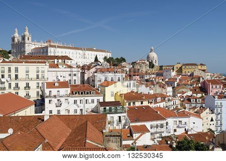 View of monastery of São Vicente de Fora and the Pantheon at Alfama in Lisbon Portugal