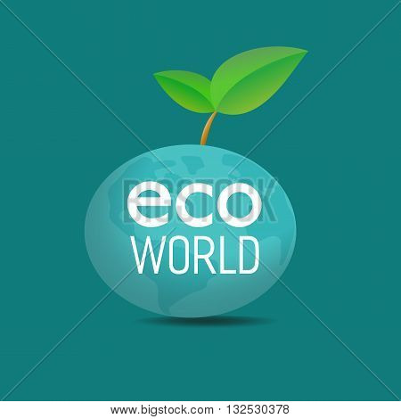 Eco world concept. Green leafs, globe, Eco World words. Nature saving. Planet the Earth. Geen world concept. Evironment protection. Vector illustration