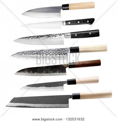 Traditional Japanese seven knife set isolated on white background.
