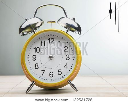 classic green clock without hands on a white background