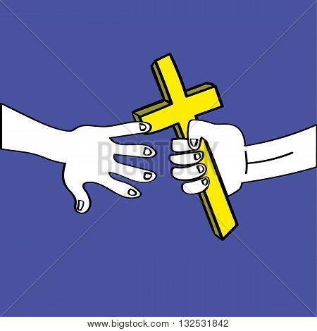A relay race baton is replaced by a gold cross being passed between two hands as a metaphor for handing on christian faith