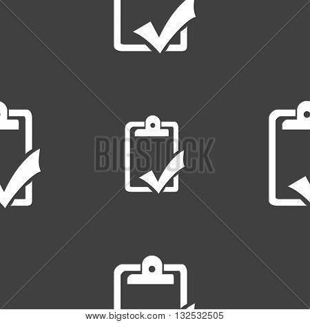 Document Grammar Control, Test, Work Complete Icon Sign. Seamless Pattern On A Gray Background. Vect