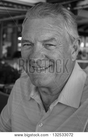 25TH MAY 2016, CALIS, TURKEY: A portrait of an englishman smiling while on vacation in calis ,turkey, 25th may 2016