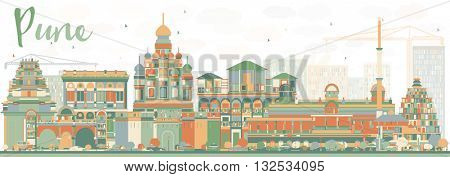 Abstract Pune Skyline with Color Buildings. Business Travel and Tourism Concept with Historic Buildings. Image for Presentation Banner Placard and Web Site.