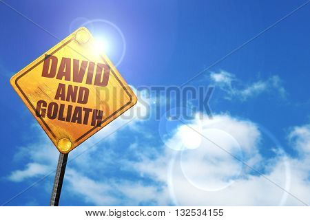 david and goliath, 3D rendering, glowing yellow traffic sign