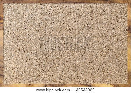 empty corkboard with wooden frame for office background