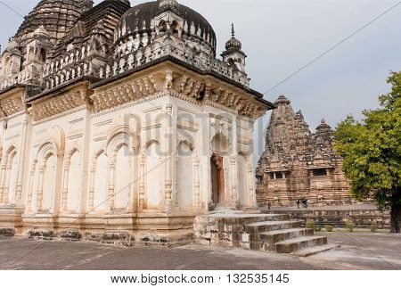 Ancient structure of temple in complex of Khajuraho Group of Monuments. UNESCO Heritage site built between 950 and 1150 in India