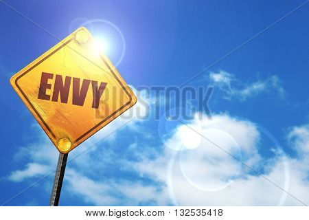 envy, 3D rendering, glowing yellow traffic sign