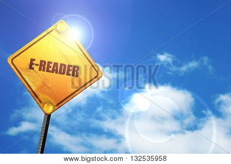 ereader, 3D rendering, glowing yellow traffic sign