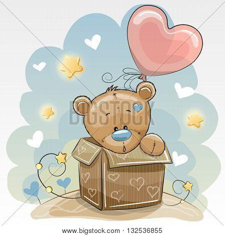 Birthday card with a Cute Teddy bear and balloon