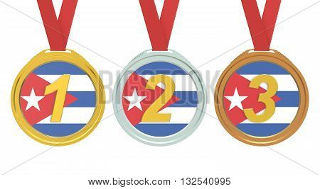 Gold Silver and Bronze medals with Cuba flag 3D rendering