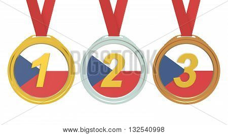 Gold Silver and Bronze medals with Czech Republic flag 3D rendering