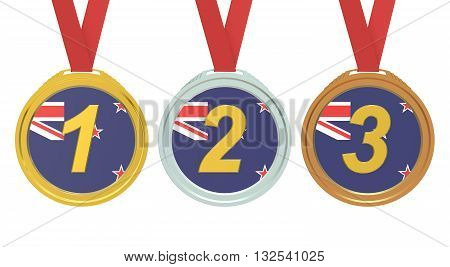 Gold Silver and Bronze medals with New Zealand flag 3D rendering isolated on white background