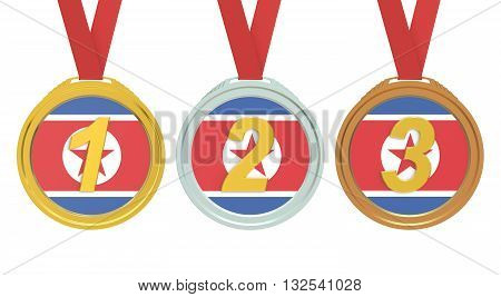 Gold Silver and Bronze medals with North Korea flag 3D rendering