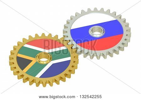South Africa and Russia relations concept flags on a gears. 3D rendering isolated on white background