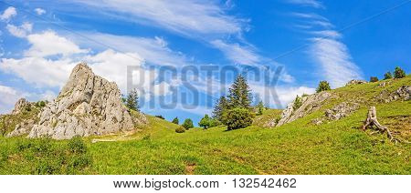 Mountains of the valley Eselsburger Tal near river Brenz - jewel of the Swabian Alps (Schwaebische Alb)