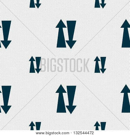 Two Way Traffic, Icon Sign. Seamless Pattern With Geometric Texture. Vector