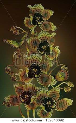 branch of orchids with butterflies in olive colors
