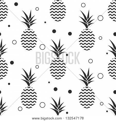 Pineapple simple vetor seamless background. Textile fabric ananas monochrome grey pattern. Baby simple scandinavian white style apparel and linen design.
