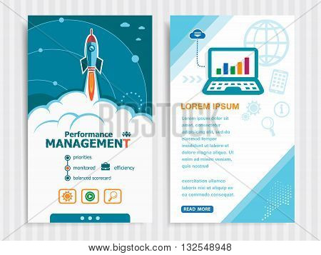 Performance management and concept background with rocket. Project Performance management concepts and Set of Banners. Vector Illustration. Eps10 Format. poster
