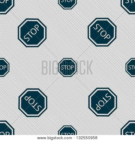 Stop Icon Sign. Seamless Pattern With Geometric Texture. Vector