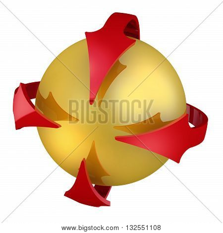 Gathering point. Sphere and arrows. Golden sphere and red arrows around the sphere. Destination icon. Isolated. 3D Illustration