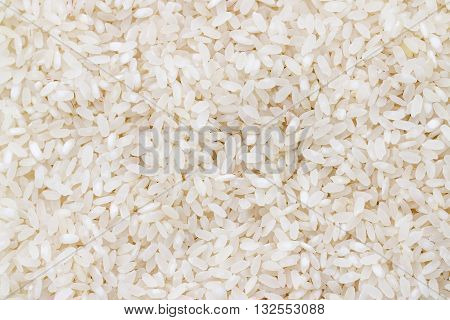 Close up of grains of jasmine rice. Rise grain background. White raw rice. Unpolished dry rice. Rise pattern.