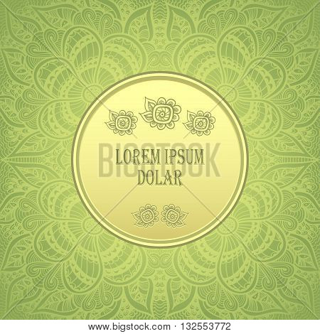 Template package background with Zen-doodle  Zen-tangle  pattern in gold green  colors for congratulation or invitation or for advertising different things